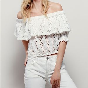 Free People White Cutout Off the Shoulder Top